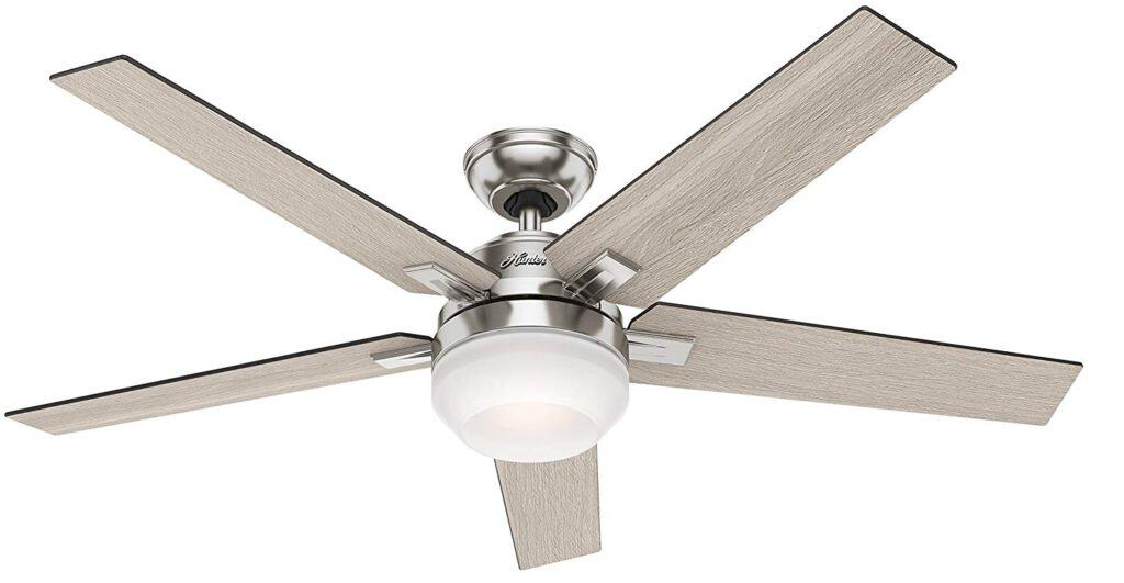 Hunter 54″ Contemporary Brushed Nickel Ceiling Fan with Light Fixture