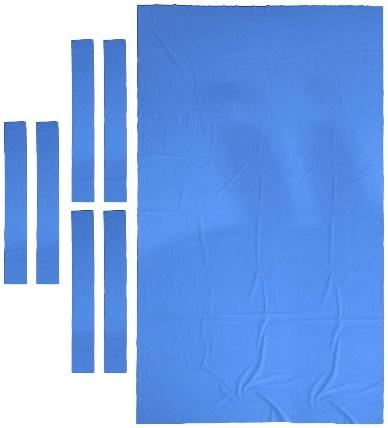 Professional 9 ft Pool Table Felt + 6 Felt Strips, Billiard Snooker Cloth Felt for 9 Foot Table, Blue, 0.9mm Thickness